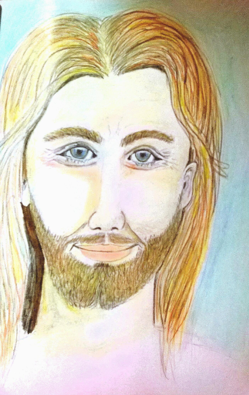 Portrait von Jesus - Gemalt von Sylvia Schuppich
