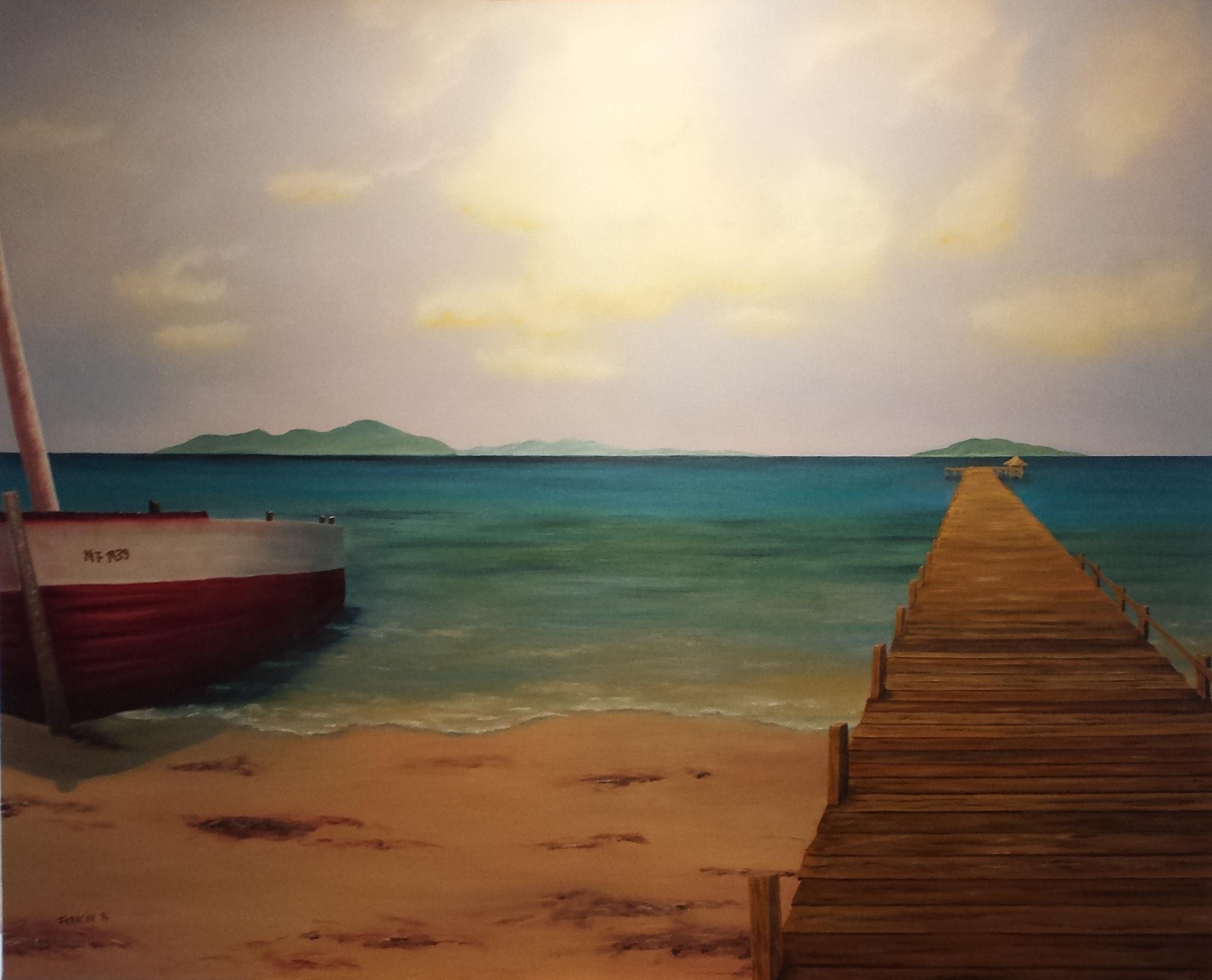 Steg am Wasser und Boot von Rose