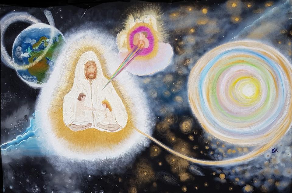 dazu gibt es zu Sagen, dass er mir sagte, wie ein weibliches und männliches Geistwesen herausgesucht wird, von Jesus. Reine Seelen, die ihre Prüfungen auf der Erde gut absolviert haben. Und nun Eltern für weitere Geistwesen sein können. Sie werden sein, wie Adam und Eva. Sie werden der Beginn der neuen Welt sein.